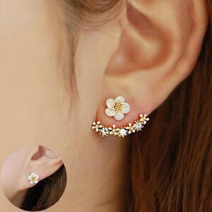 Rosey Studded Glam flower  Earrings