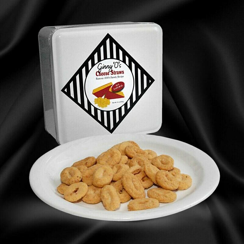 9 oz of Original Ginny O's Cheese Straws Gift Tin