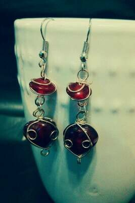 Wire Wrapped Ruby Red Glass Bead with Heart Earrings