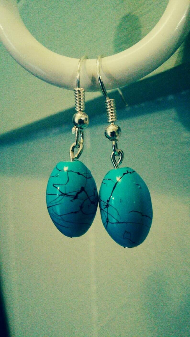Turquoise Blue and Black Splatter Glass Bead Dangle Earrings
