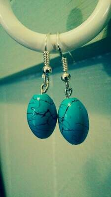 Turquoise Blue and Black Splatter Glass Bead Dangle Earrings