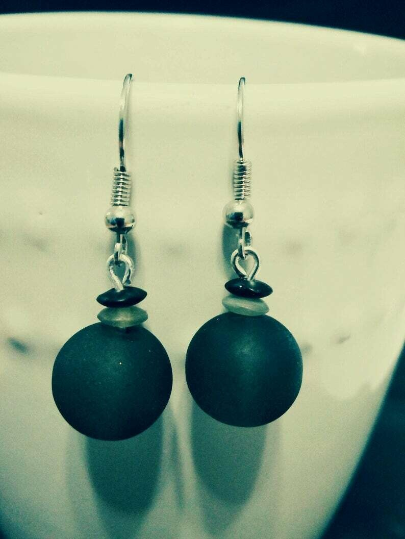 Opaque Black / Gray Round Glass Bead Earring