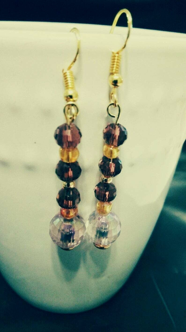 Gold and Purple Dangle Earrings