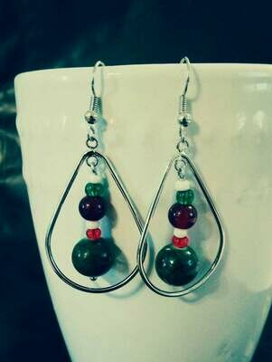 HoLiDaY Teardrop Silver Earrings featuring Classic Christmas Colors