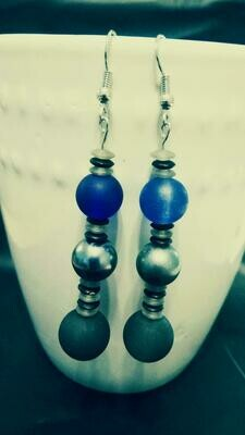 Long Dangle Beaded Earrings in Gray, Black, Blue and Metallic Colors