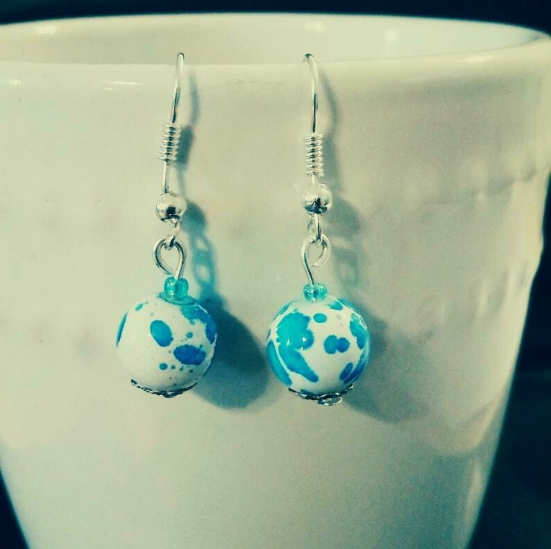 Ocean Blue Splatter Glass Bead Earrings