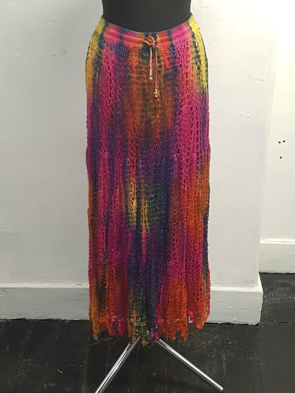 Dark star tie dye crochet skirt