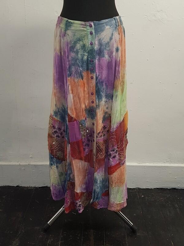 Jordash tie-dye patch work skirt