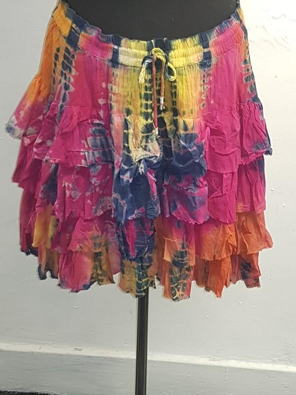Jordash short ruffled tie-dye