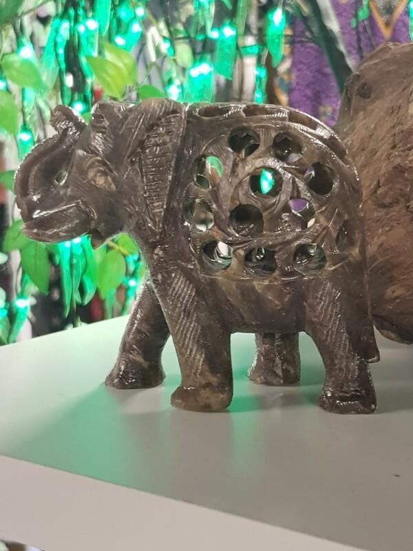 Large hand carved soapstone elephant