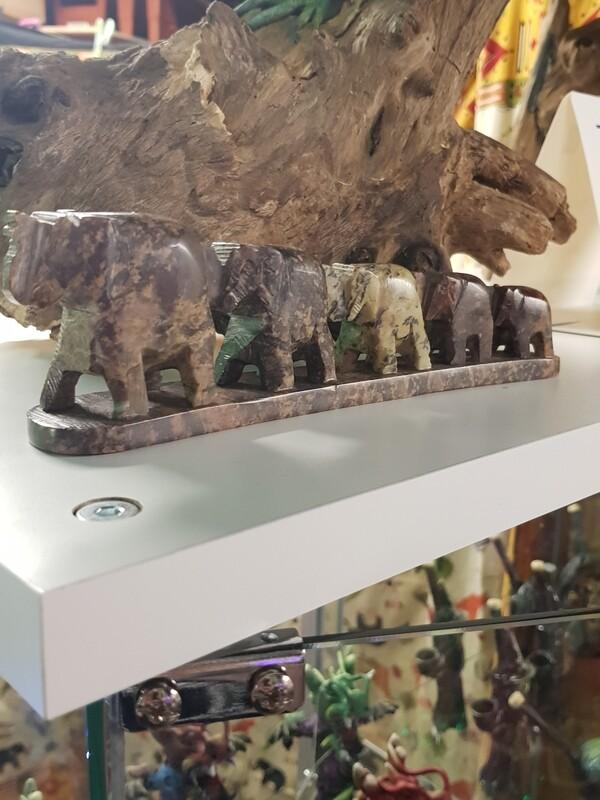 5 elephants soapstone incense holder