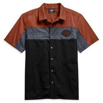 Harley Davidson Men's Copperblock Short Sleeve Woven Shirt, Black