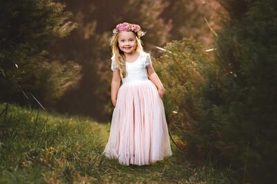 Celeste Dress | White & Peach | Full Length