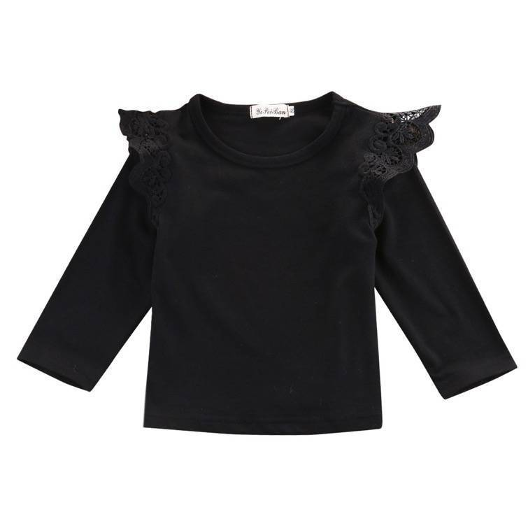 Long Sleeve Flutter Top | Black