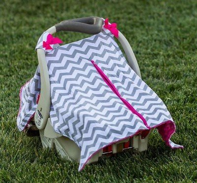 Grey Chevron Pink Minky Car Seat Canopy | Snap Opening | Universal