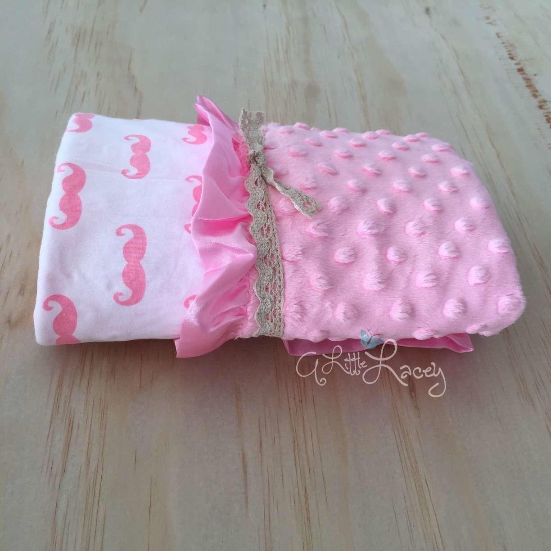 Pink Moustache | Light Pink | Minky Baby Blanket