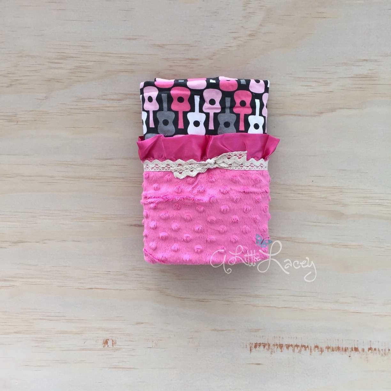 Guitars | Hot Pink | Minky Baby Blanket