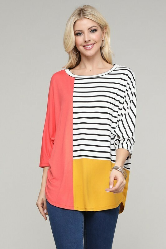 3/4 Sleeve Colorblock Top 3X Only Left!!