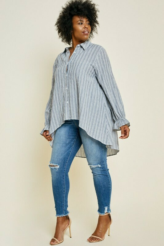 Button Down HiLo Top  3X to S!!