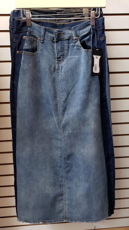 Side Stripe Long Denim Skirt 3X to XL!