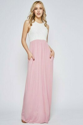 Lace Contrast Sleeveless Maxi Dress 3X to 1X!