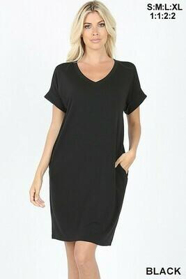 V Neck Rolled Sleeve Dress  XL, L & M only Left!!