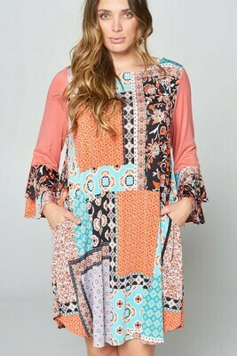 Patchwork Bell Sleeve Dress 3X to 1X Only!!