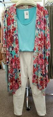 Floral Open Front Kimono 2X to M Left!!