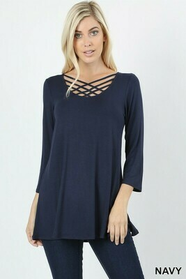 3/4 Sleeve Web Neck Top 3X to L!