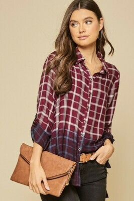 Ombre Plaid Button Down Top L to S!!