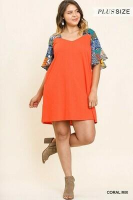 Short Sleeve Square V Neck Dress 2XL to XL!!
