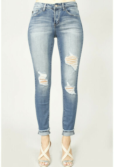 KanCan Cuffed Long Distressed Jean 3X, 2X & a 7 Left!