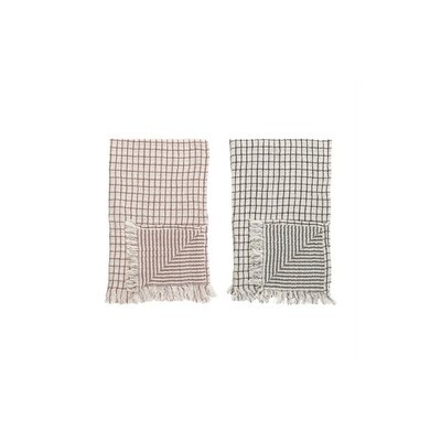 Cotton Fringe Grid Towel