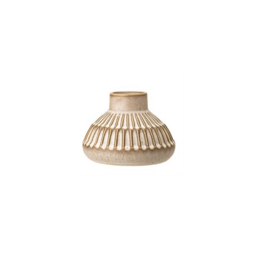 Low Bottleneck Etched Vase - Natural