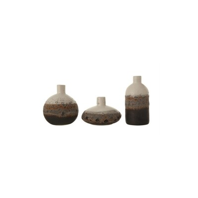 Brown & White Ombre Stoneware Vase Set
