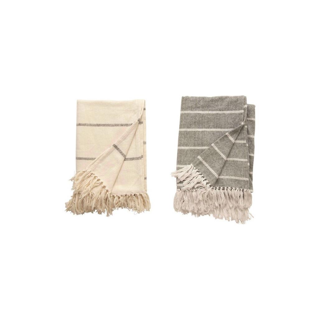 White w/ Grey Stripes Throw