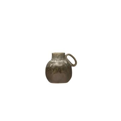 Olive Stoneware Vase w/ Handle