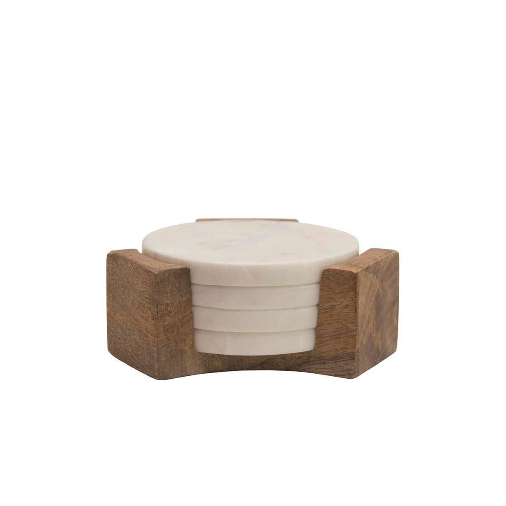 Marble Coasters w/ Wood Holder