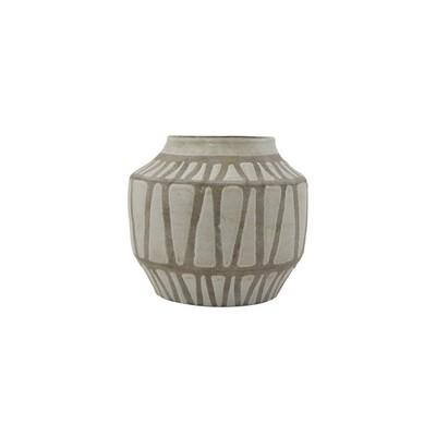 Ceramic Unglazed Lines Vase - M
