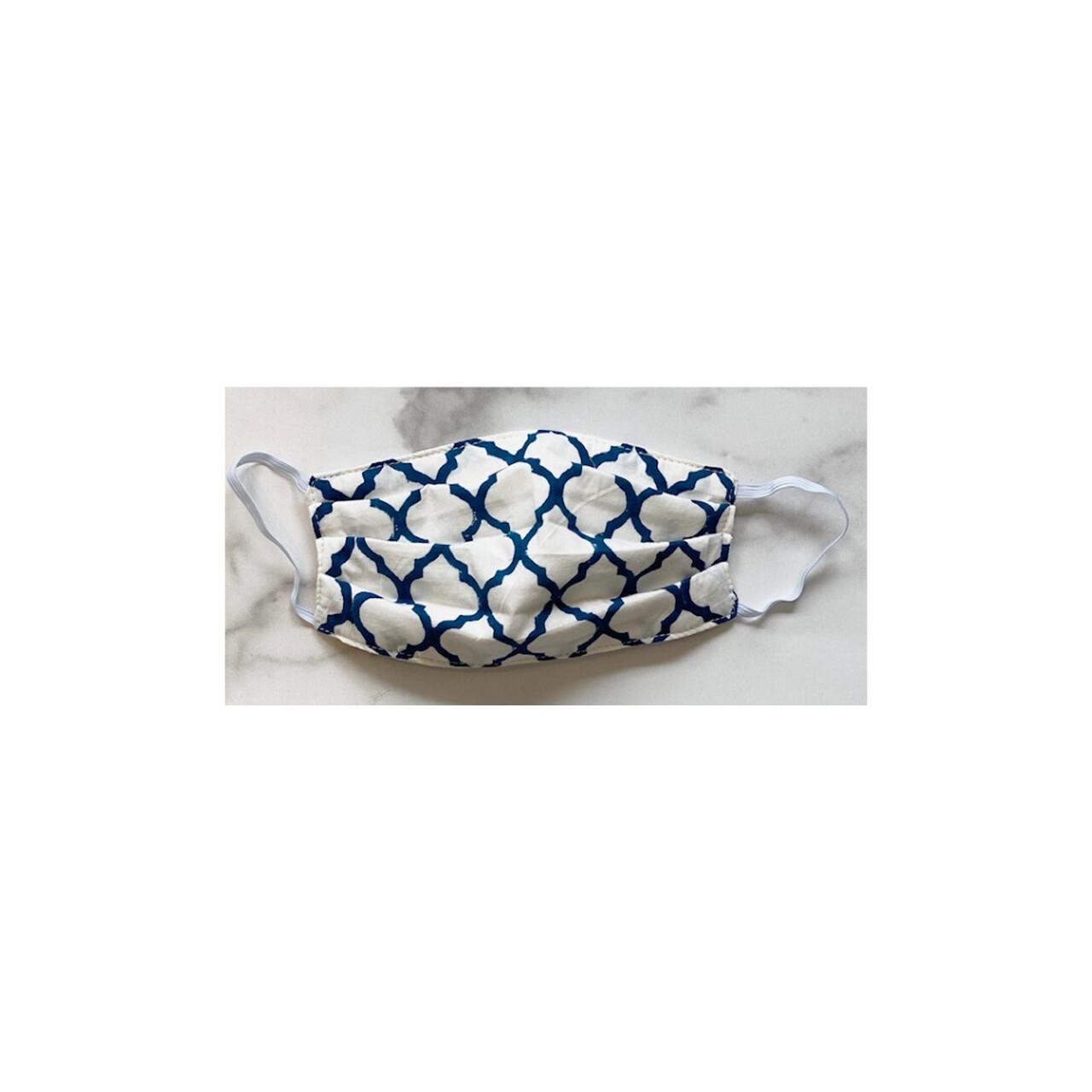 Royal Blue and White Fleur Mask