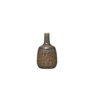 Reactive Glaze Olive Stoneware Vase