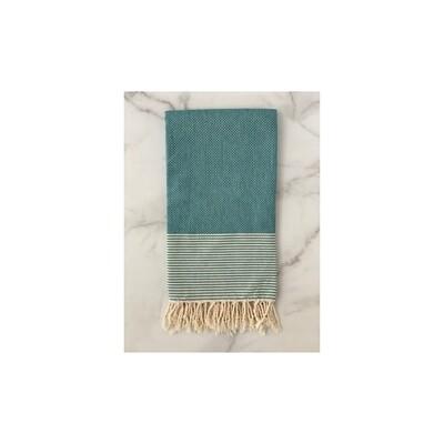 Coffee Bean Pattern Turkish Bath Towel - Turquoise