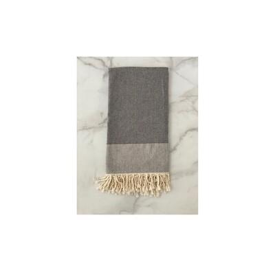 Herringbone Turkish Bath Towel - Black
