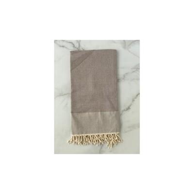 Herringbone Turkish Bath Towel - Grey