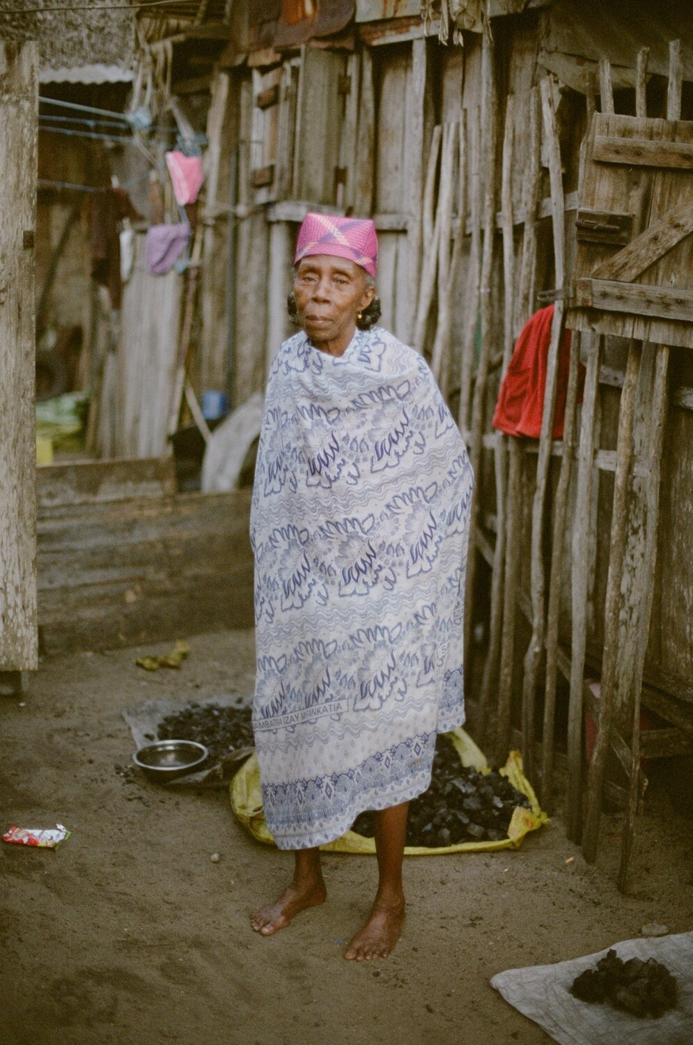 Woman selling charcoal