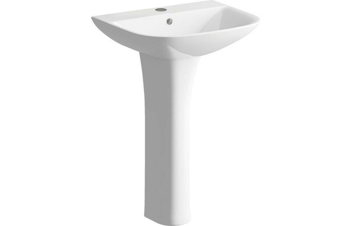 Sandro 560x450mm 1TH Basin & Full Pedestal
