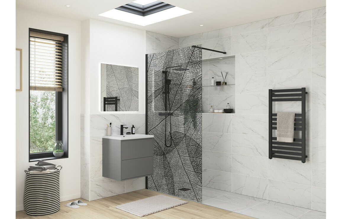 RefleXion 8 Black Leaf Design Wetroom Panel - 1200mm