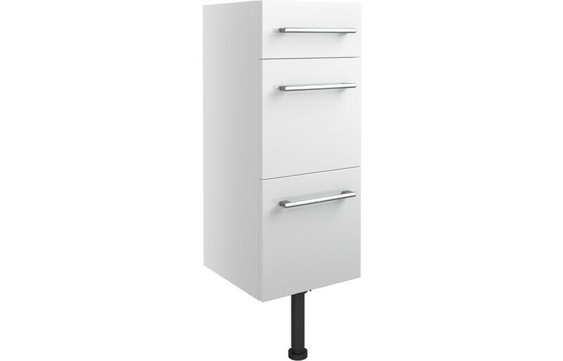 Alba 300mm 3 Drawer Unit - White Gloss