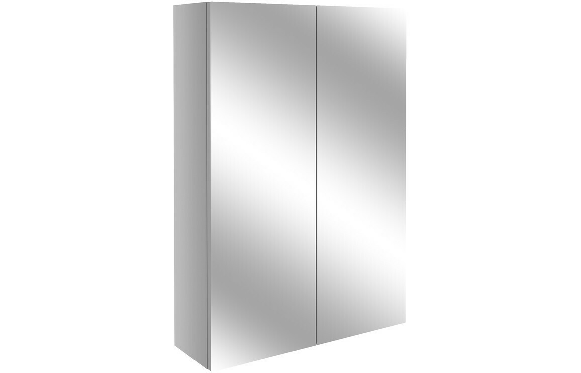 Alba 500mm Slim Mirrored Unit - Light Grey Gloss