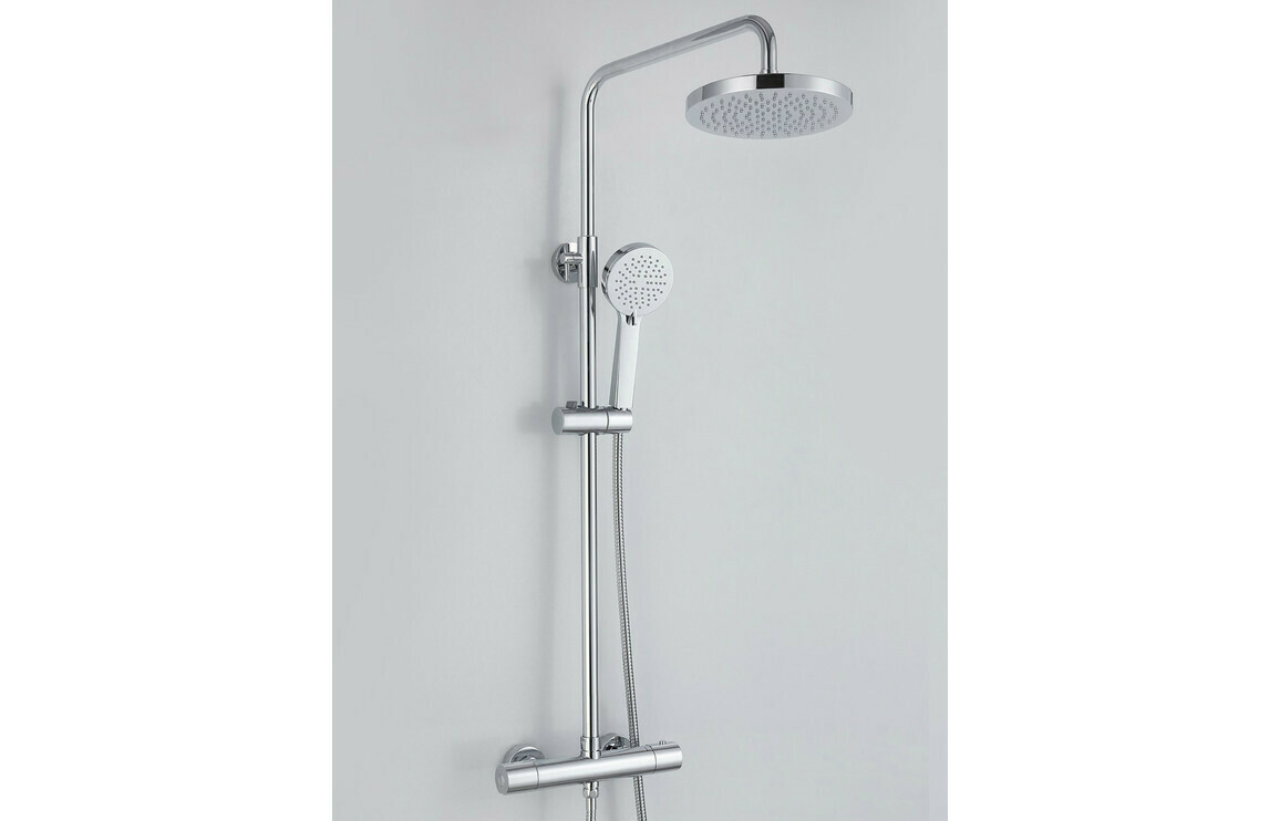 Primo Cool-Touch Thermostatic Mixer Shower with Overhead - Round